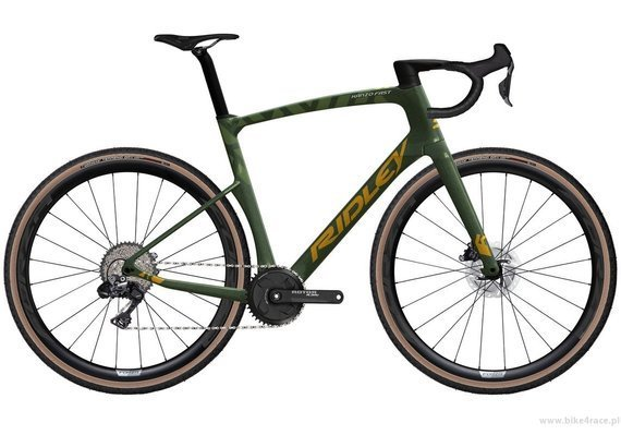 Gravel bicycle RIDLEY KANZO FAST - GRX800 1x11s Di2 Hydraulic Disc – color KAF-01AS (Army Green Metallic-Gold Metallic)