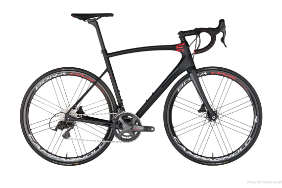 Road bicycle RIDLEY FENIX SLX DISC - Ultegra Hydraulic Disc – color FXD-01AMS (Smokey Black-Red-Cool Grey)