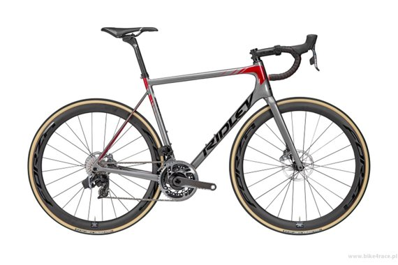 Road bicycle RIDLEY HELIUM SLX DISC - Ultegra – color HXD-04AS (Steel Grey-Black-Candy Red Metallic)